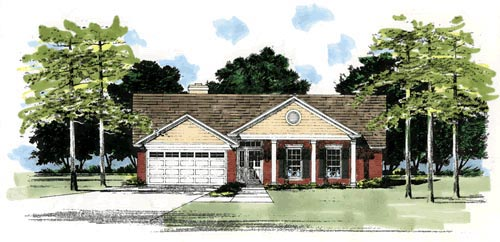 Ranch House Plan 67608 with 3 Beds, 2 Baths, 2 Car Garage Elevation