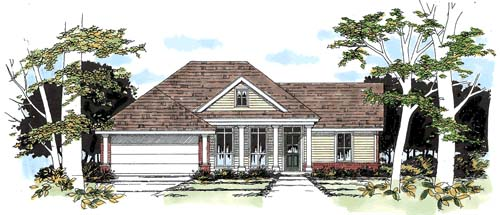 House Plan 67609 | Traditional Style Plan with 1219 Sq Ft, 3 Bedrooms, 2 Bathrooms, 2 Car Garage Elevation