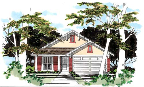 Narrow Lot, One-Story, Traditional House Plan 67611 with 3 Beds, 2 Baths, 2 Car Garage Elevation