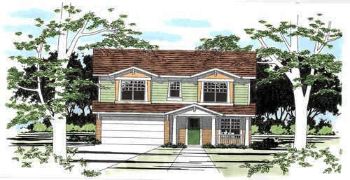 Narrow Lot, Traditional House Plan 67612 with 3 Beds, 3 Baths, 2 Car Garage Elevation