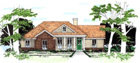 House Plan 67614 | Traditional Style Plan with 1323 Sq Ft, 3 Bed, 2 Bath, 2 Car Garage Elevation