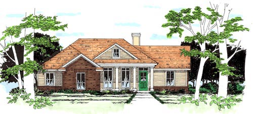 One-Story, Traditional House Plan 67614 with 3 Beds, 2 Baths, 2 Car Garage Elevation