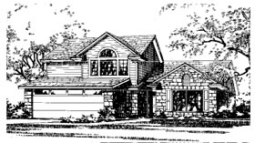 European , Narrow Lot House Plan 67615 with 3 Beds, 2 Baths, 2 Car Garage Elevation