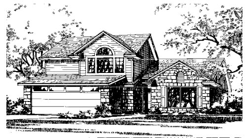 European, Narrow Lot House Plan 67615 with 3 Beds, 2 Baths, 2 Car Garage Elevation