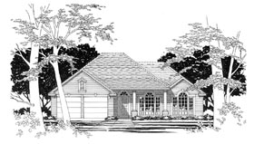 European House Plan 67616 with 3 Beds, 2 Baths, 2 Car Garage Elevation