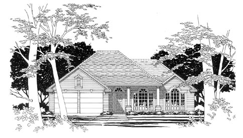 European, One-Story House Plan 67616 with 3 Beds, 2 Baths, 2 Car Garage Elevation