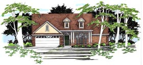 House Plan 67617 | Traditional Style Plan with 1388 Sq Ft, 3 Bedrooms, 2 Bathrooms, 2 Car Garage Elevation