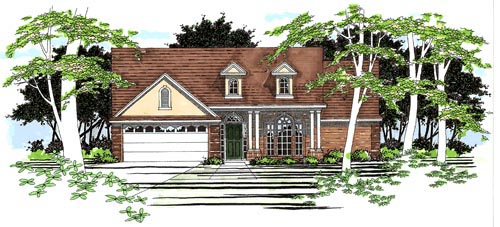 One-Story, Traditional House Plan 67617 with 3 Beds, 2 Baths, 2 Car Garage Elevation