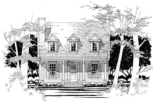 Cape Cod Narrow Lot Elevation of Plan 67618