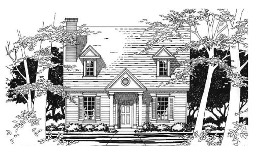 Cape Cod, Narrow Lot House Plan 67619 with 3 Beds, 2 Baths Elevation