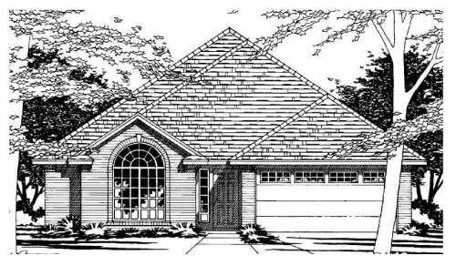 European, One-Story House Plan 67622 with 3 Beds, 2 Baths, 2 Car Garage Elevation