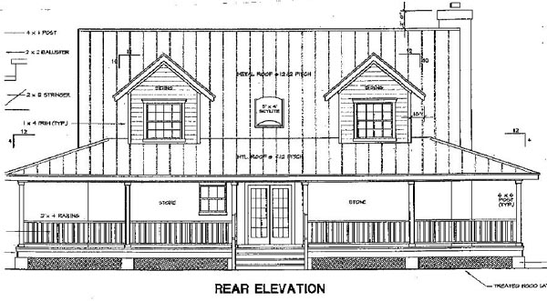 Country House Plan 67668 with 3 Beds, 3 Baths Rear Elevation