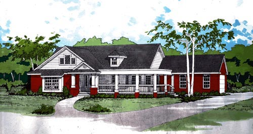 Traditional House Plan 67669 with 3 Beds, 2 Baths, 2 Car Garage Elevation