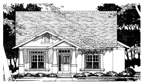 Traditional House Plan 67678 with 3 Beds, 2 Baths, 2 Car Garage Elevation