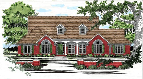 One-Story, Traditional House Plan 67686 with 3 Beds, 2 Baths, 2 Car Garage Elevation