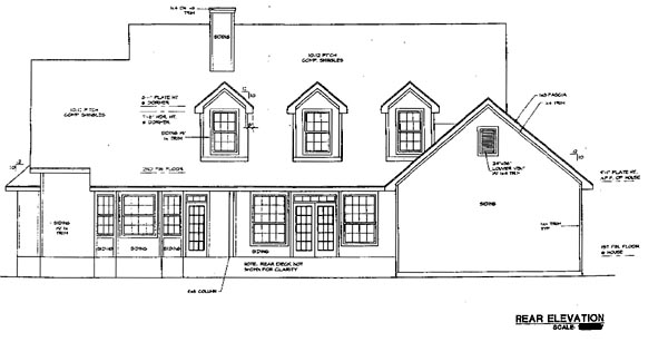 Traditional House Plan 67687 with 3 Beds, 3 Baths, 2 Car Garage Rear Elevation