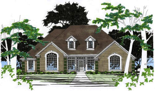 One-Story, Traditional House Plan 67725 with 3 Beds, 3 Baths, 2 Car Garage Elevation