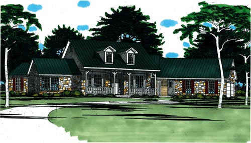 Country House Plan 67735 with 4 Beds, 3 Baths, 3 Car Garage Elevation