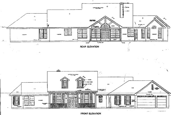 Country House Plan 67735 with 4 Beds, 3 Baths, 3 Car Garage Rear Elevation