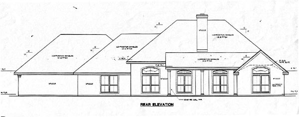 House Plan 67749 | Traditional Style Plan with 2543 Sq Ft, 3 Bedrooms, 2 Bathrooms, 3 Car Garage Rear Elevation