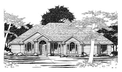 European, One-Story House Plan 67766 with 4 Beds, 4 Baths, 2 Car Garage Elevation