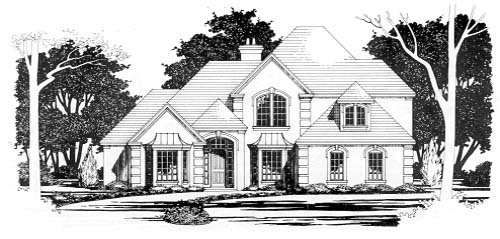 European House Plan 67775 with 4 Beds, 3 Baths, 2 Car Garage Elevation