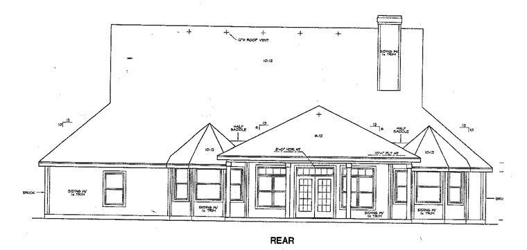 Traditional House Plan 67779 Rear Elevation