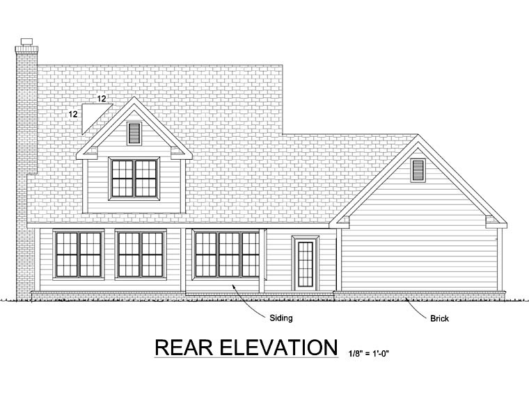 Country Traditional House Plan 67815 Rear Elevation