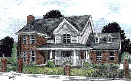 Farmhouse, Southern House Plan 67816 with 4 Beds, 4 Baths, 3 Car Garage Elevation