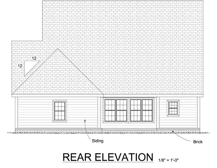 Traditional House Plan 67822 Rear Elevation