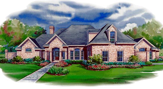 European House Plan 67830 with 3 Beds, 4 Baths, 3 Car Garage Elevation