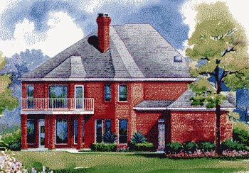 European House Plan 67831 with 4 Beds, 4 Baths, 3 Car Garage Rear Elevation