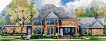 European House Plan 67834 Rear Elevation