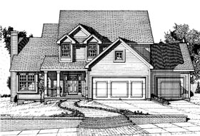 House Plan 67842 | Country Style Plan with 1804 Sq Ft, 3 Bedrooms, 3 Bathrooms, 2 Car Garage Elevation