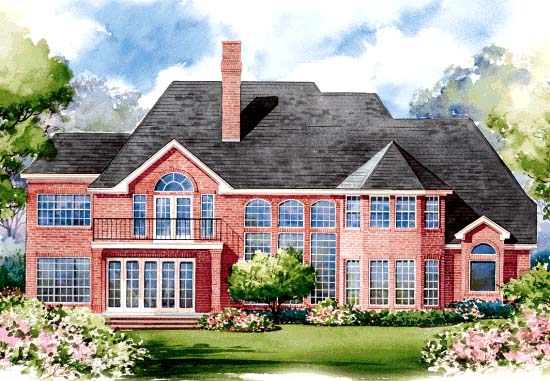 European House Plan 67845 Rear Elevation