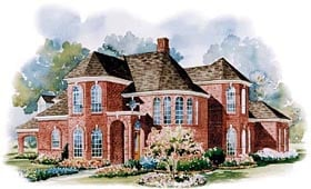 European House Plan 67847 with 4 Beds, 4 Baths, 4 Car Garage Elevation