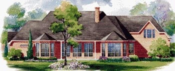 European House Plan 67849 with 4 Beds, 4 Baths, 3 Car Garage Rear Elevation