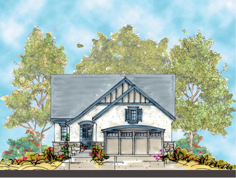 Country, European House Plan 67853 with 2 Beds, 2 Baths, 2 Car Garage Picture 1