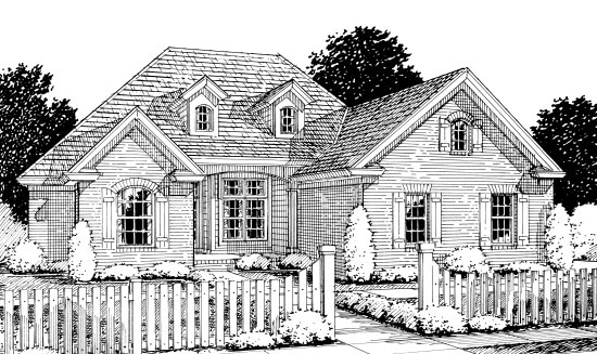 Traditional House Plan 67880 with 4 Beds , 2 Baths , 2 Car Garage Elevation