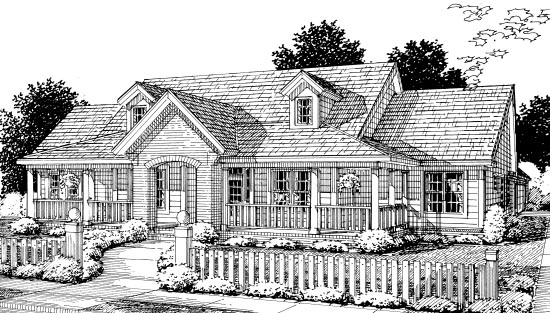 Country Southern Elevation of Plan 67882