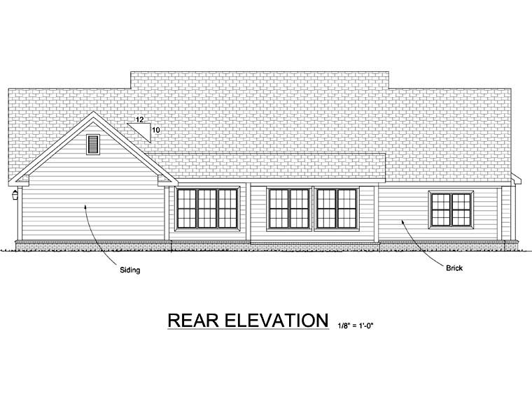Country Southern Rear Elevation of Plan 67882