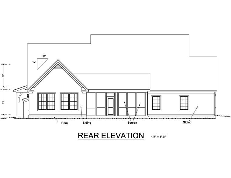Country Rear Elevation of Plan 67883
