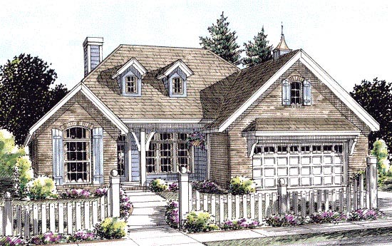 Cottage, Country House Plan 67885 with 3 Beds , 2 Baths , 2 Car Garage Elevation