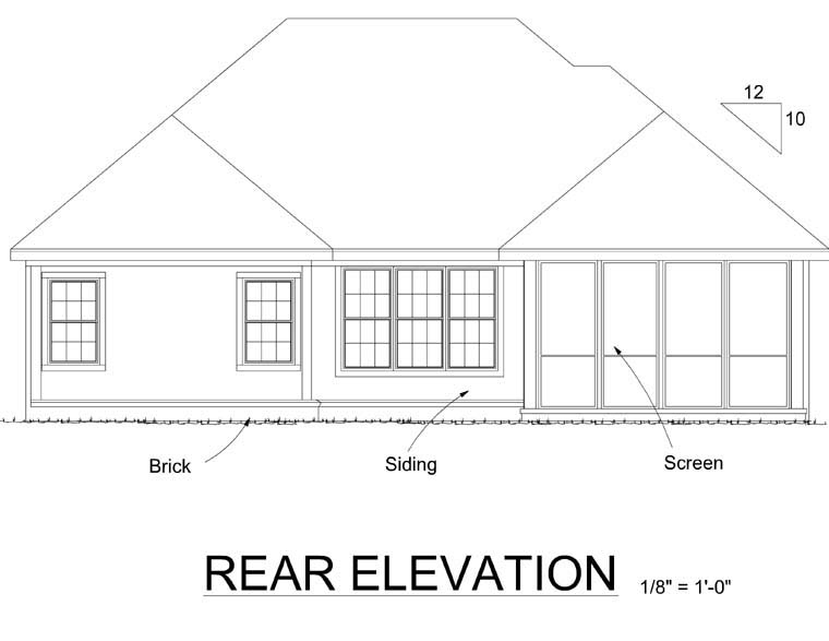 European House Plan 67886 Rear Elevation