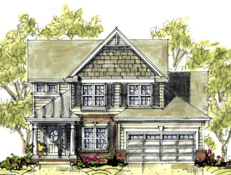 Bungalow, Narrow Lot House Plan 67900 with 3 Beds, 3 Baths, 2 Car Garage Elevation