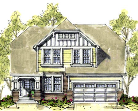 House Plan 67902 | Tudor Style Plan with 2062 Sq Ft, 3 Bedrooms, 3 Bathrooms, 2 Car Garage Elevation