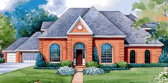 European House Plan 67907 with 4 Beds, 4 Baths, 3 Car Garage Elevation