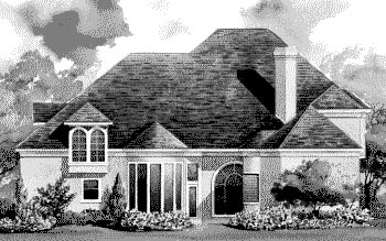 European House Plan 67911 with 4 Beds, 4 Baths, 3 Car Garage Rear Elevation