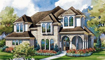 European House Plan 67912 with 4 Beds, 4 Baths, 3 Car Garage Elevation
