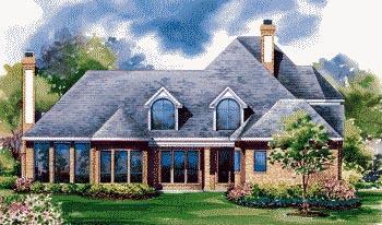 European House Plan 67914 Rear Elevation